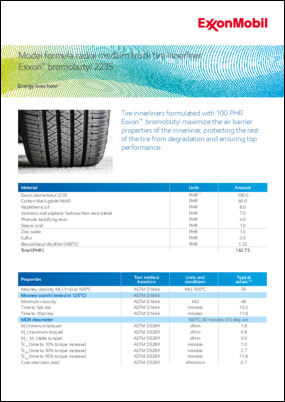 Tire innerliners formulated with 100 PHR Exxon™ Chlorobutyl or Bromobutyl maximize the air barrier properties of the innerliner, protecting the the rest of the tire from degradation and ensuring top performance.