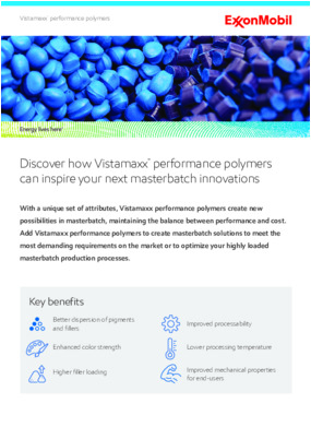 With a unique set of attributes, Vistamaxx performance polymers create new possibilities in masterbatch, maintaining the balance between performance and cost.