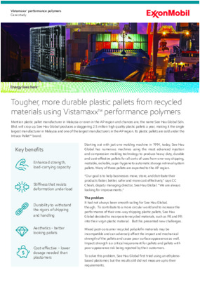 A case study demonstrating how See Hau Global Sdn. Bhd. is using the versatile capabilities of Vistamaxx™ performance polymers to improve the quality of its plastic pallets, which are manufactured using prime and recycled polyolefins.