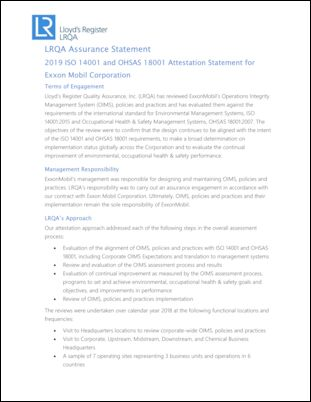 LRQA Assurance Statement 2019 ISO 14001 and OHSAS 18001 Attestation Statement for Exxon Mobil Corporation