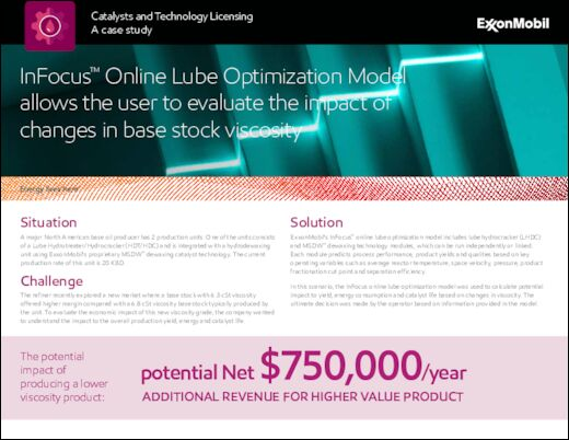 A catalyst and licensing casestudy : InFocus™ Online Lube Optimization Model allows the user to evaluate the impact of changes in base stock viscosity