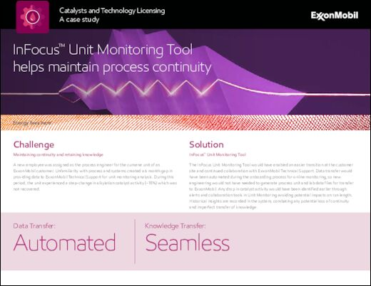 A catalyst and licensing casestudy : InFocus™ Unit Monitoring Tool helps maintain process continuity