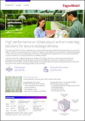 A key requirement for protective packaging is strength and durability. Yet there is a growing requirement that the packaging industry generate less plastic waste, and be more cost effective. So how can manufacturers do both? ExxonMobil Chemical offers a broad portfolio of performance polyethylene (PE) polymers designed to help manufacturers around the world meet their downgauge needs, simply and easily.