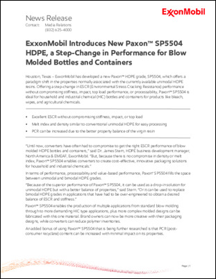 ExxonMobil has developed a new Paxon™ HDPE grade, SP5504, which offers a paradigm shift in the properties normally associated with the currently available unimodal HDPE resins. Offering a step-change in ESCR (Environmental Stress Cracking Resistance) performance without compromising stiffness, impact, top load performance, or processability, Paxon™ SP5504 is ideal for household and industrial chemical (HIC) bottles and containers for products like bleach, wipes, and agricultural chemicals.